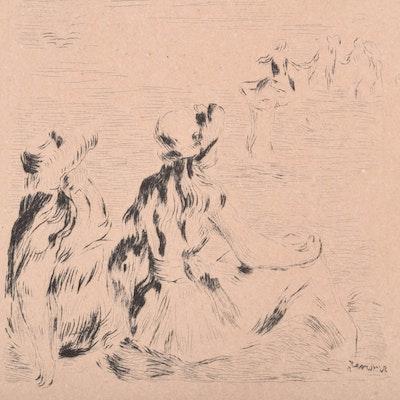 """Original Pierre-Auguste Renoir Etching """"Sur la plage, à Berneval"""""""