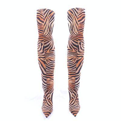 Women's Casadei Tiger Print Heeled Boots, Size 11