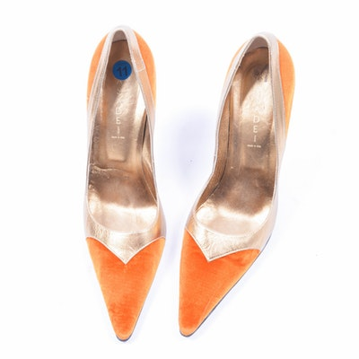 Casadei Gold and Burnt Orange High Heels, Size 11