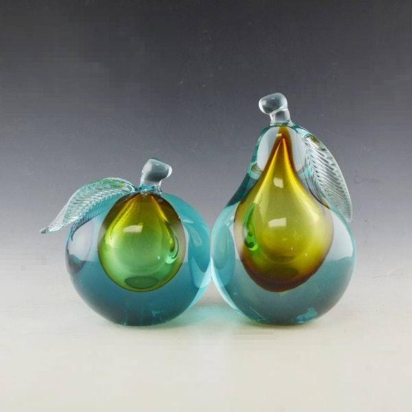 Sommerso Fruit Glass Bookends Attributed to Alfredo Barbini : EBTH