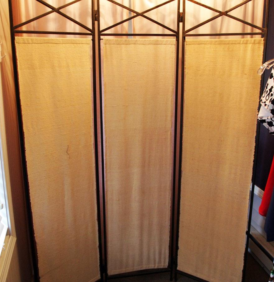Three Panel Steel And Fabric Room Divider Screen Ebth