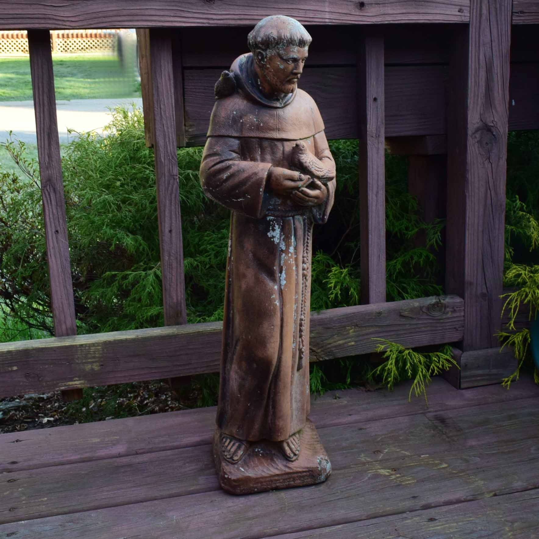 Painted Concrete St. Francis Of Assisi Garden Statue ...