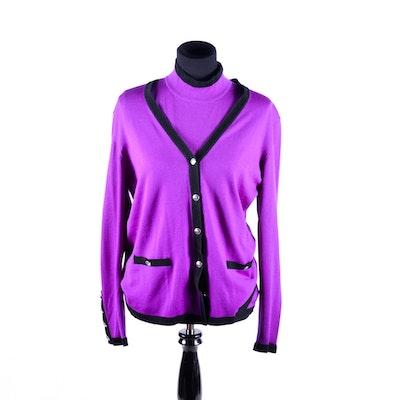 Escada Margaretha Ley Purple Cardigan and Shirt