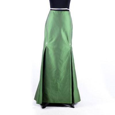 Carolina Herrera Green Pinstripe Full Length Skirt