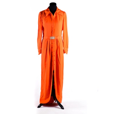 Adele Simpson Orange Button-Front Dress
