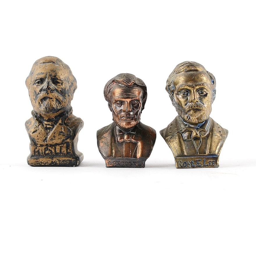 Miniature Bronzed Civil War Figure Busts