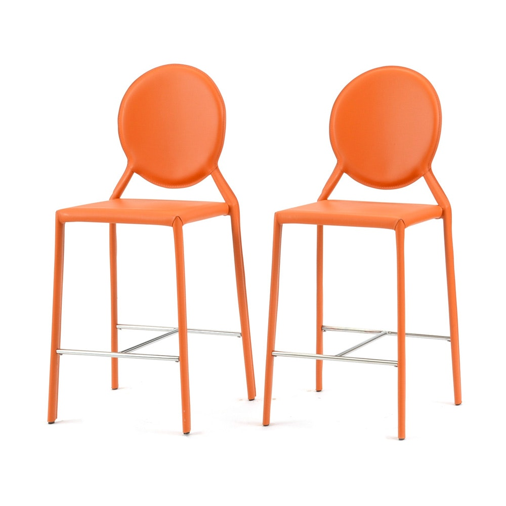 Pair Of Orange Counter Stools Ebth