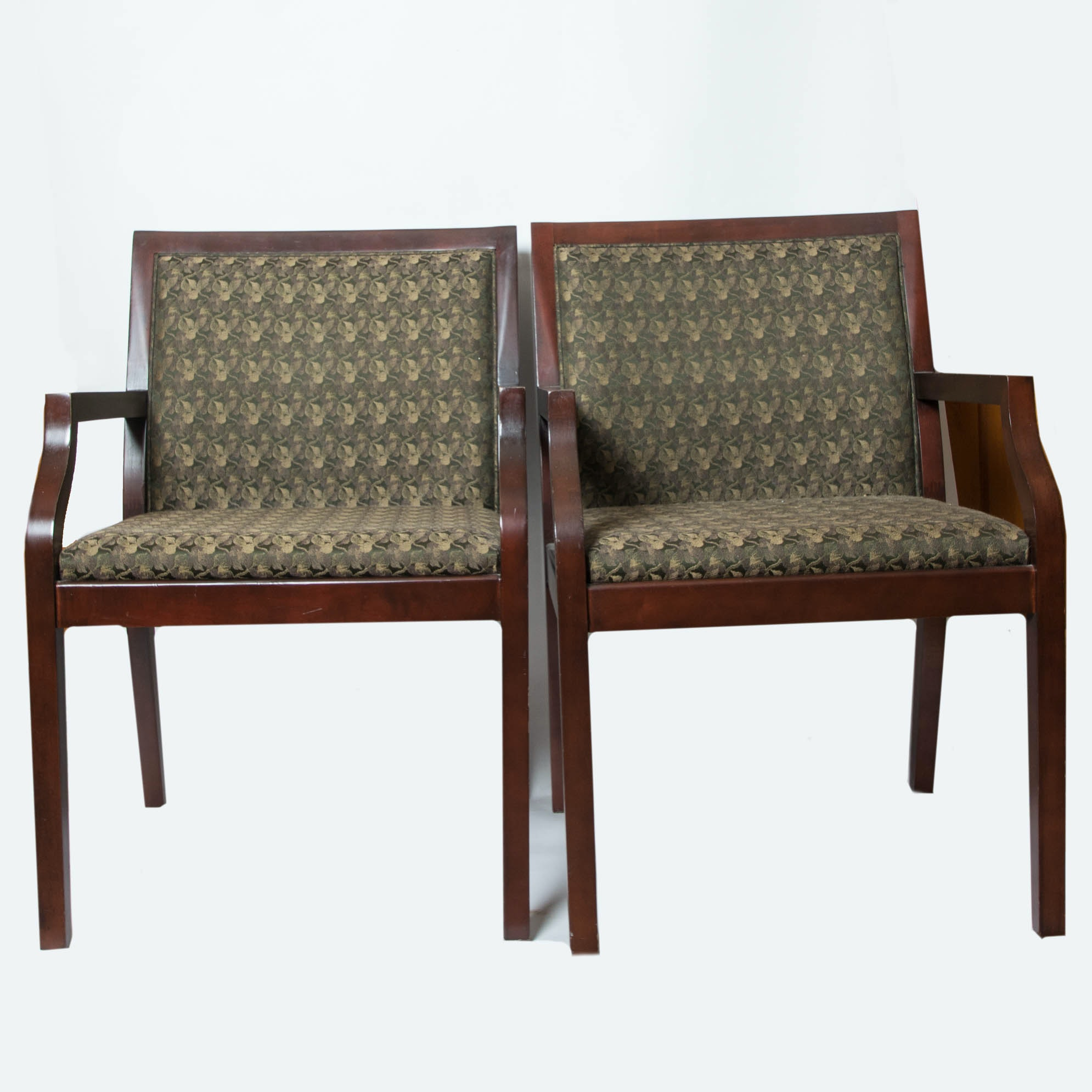 Bon Pair Of Patrician Furniture Green Upholstered Side Chairs ...