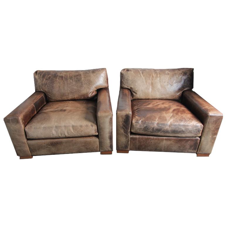 restoration hardware petite maxwell chair. pair of restoration hardware petite maxwell leather armchairs chair t