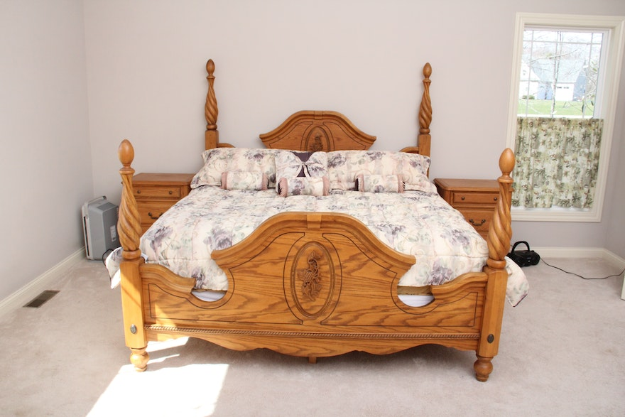 Arbek Oak California King Four Poster Bed Ebth