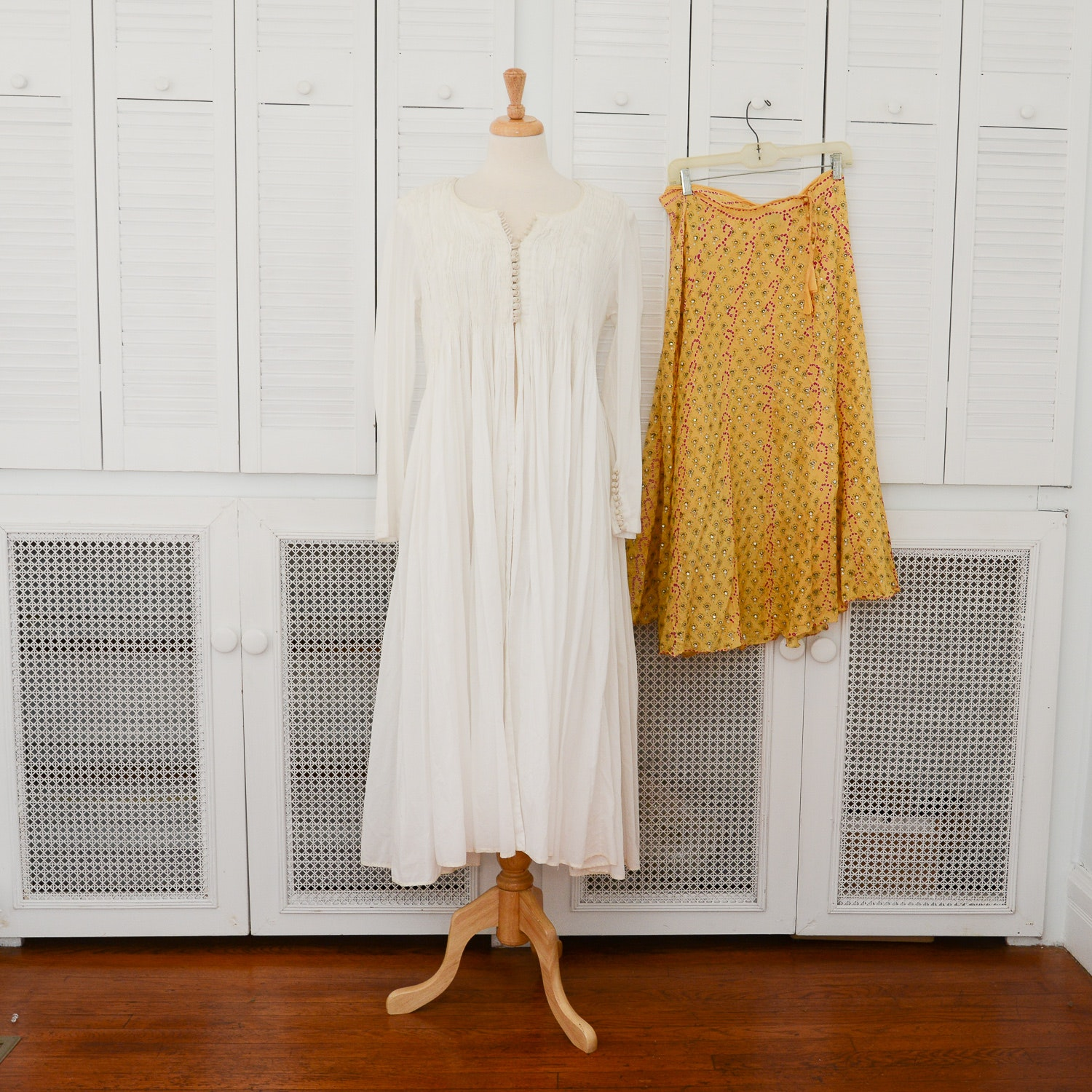 White Cotton Dressing Gown And A Silk Skirt Both From India Ebth