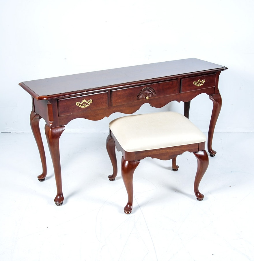 Thomasville console table and upholstered seat ebth thomasville console table and upholstered seat geotapseo Gallery