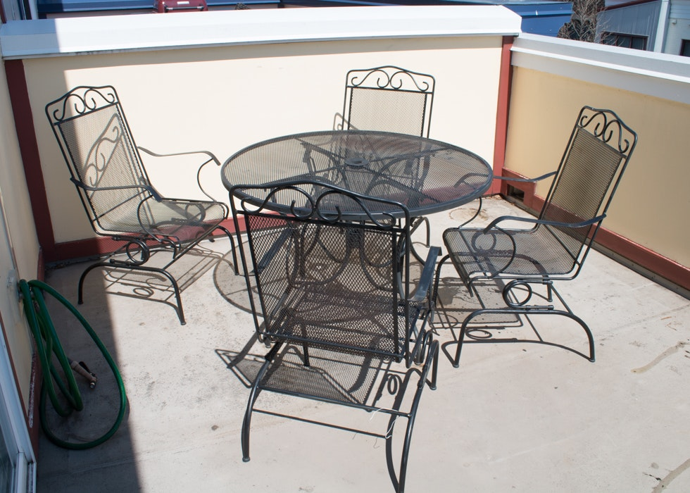 Outdoor Wrought Iron Patio Table And Chairs By Plantation Ebth