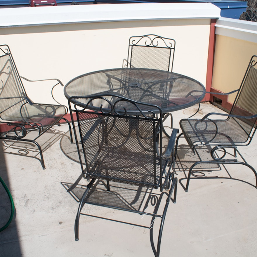 Outdoor Wrought Iron Patio Table And