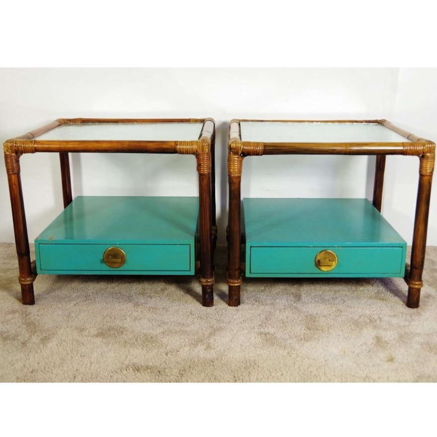 Ficks Reed Glass Top End Tables Ebth