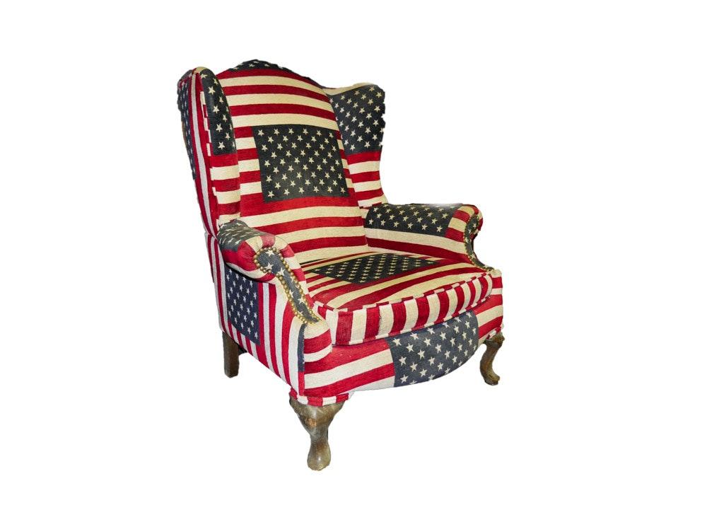 Delightful American Flag Wingback Armchair ...