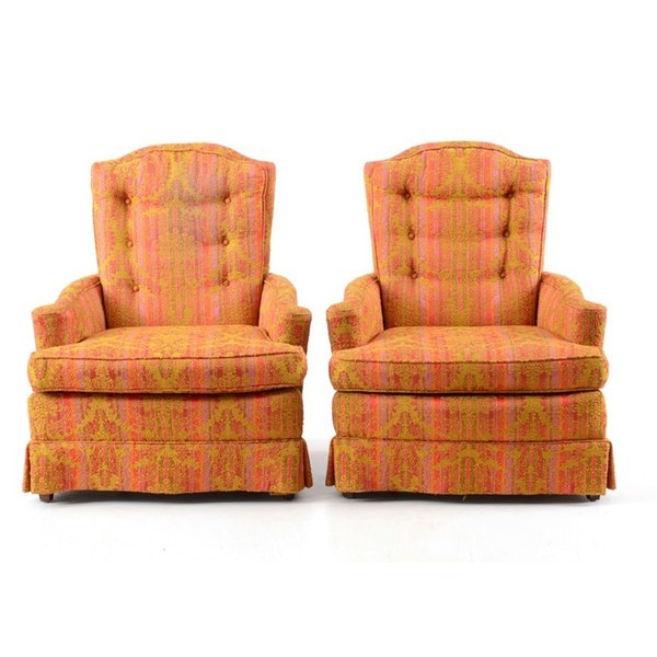 Pair of multi colored upholstered arm chairs ebth
