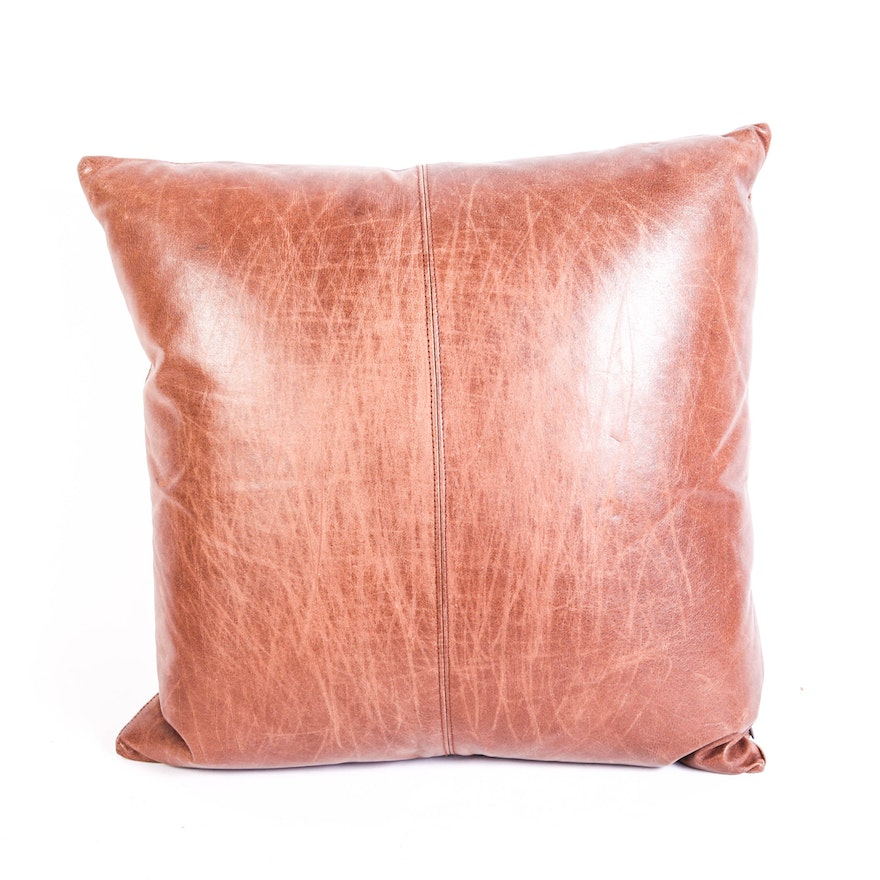 Pottery Barn Leather Pillow Cover With Down Insert