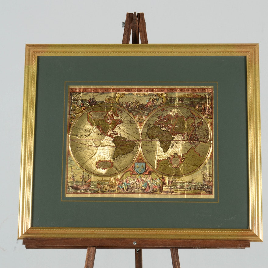 Framed world map on gold tone foil ebth framed world map on gold tone foil gumiabroncs Choice Image