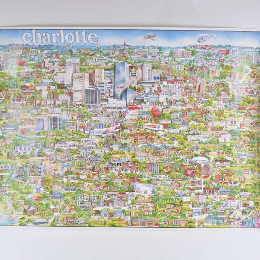 Vintage 1970s Illustrated Map of Charlotte, North Carolina : EBTH