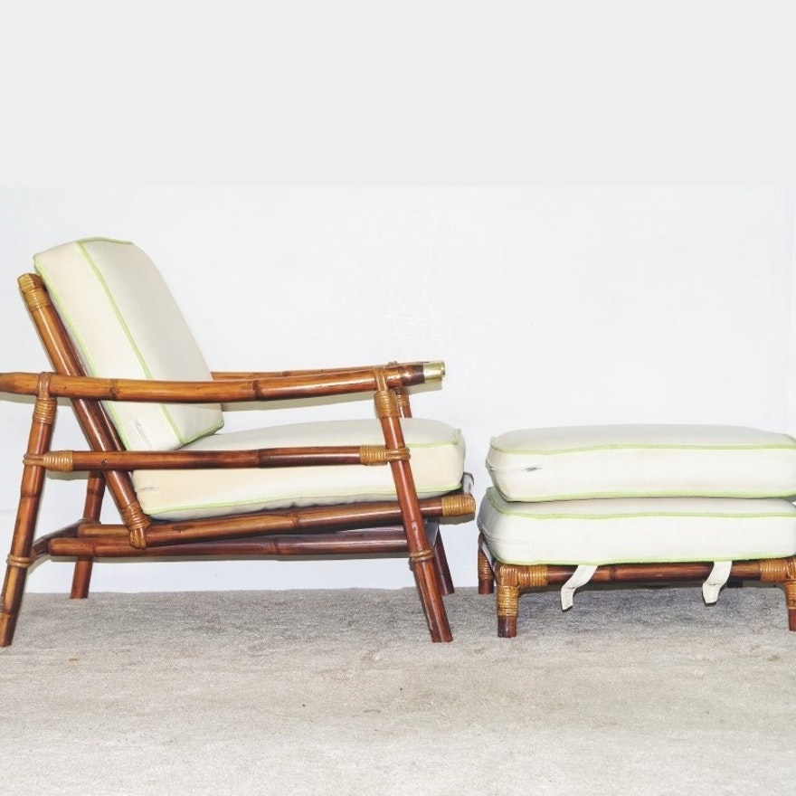 John B Wisner For Ficks Reed Arm Chair And Ottoman