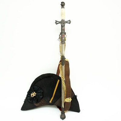 1920s M.C. Lilley Masonic Sword With Sheathe And Hat