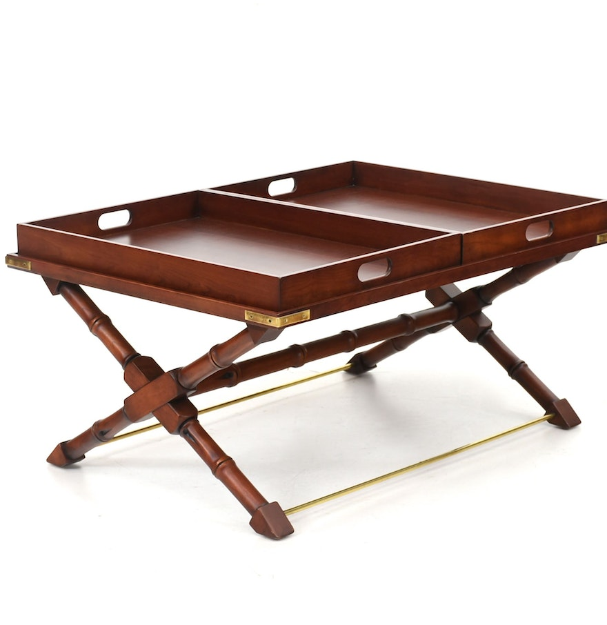 Coffee Table With Tray Top: Cherry Finish Tray Top Coffee Table : EBTH