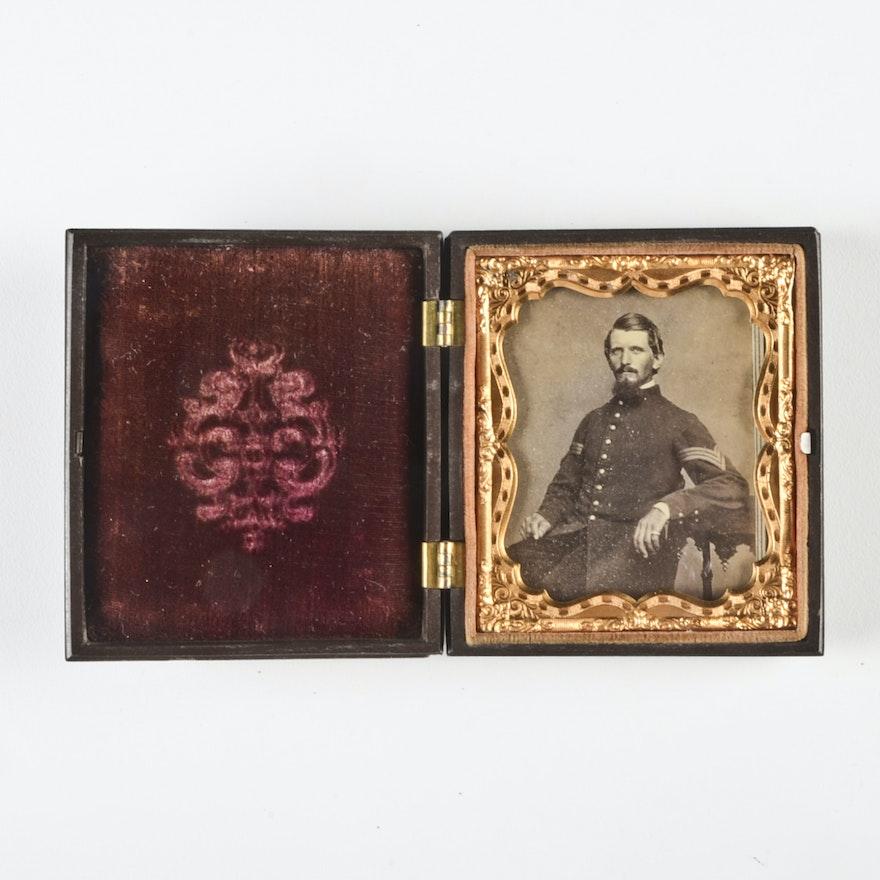 Antique Carte De Visite Portrait Of Civil War Sergeant In Gutta Percha Case EBTH