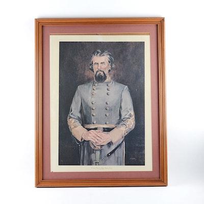 JM Garner Signed Offset Portrait of Nathan Bedford Forrest