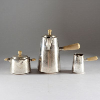 Mid 20th Century Danish Three-Piece Sterling Silver Coffee Set