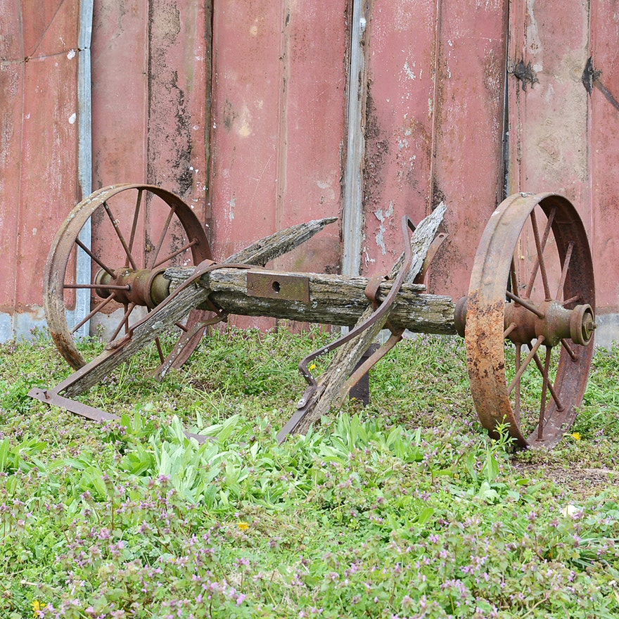 Antique Iron Cart Wheels and Axle