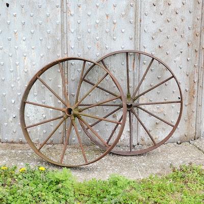 Antique Iron Cart Wheel Pair
