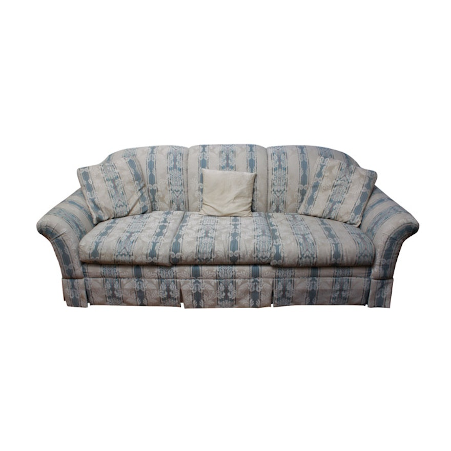 Cream and Blue Striped Sofa