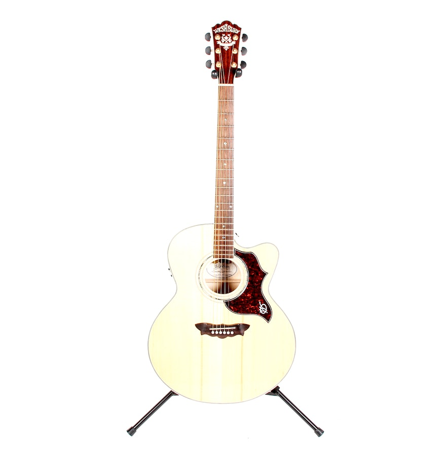 washburn cumberland jumbo acoustic electric guitar ebth. Black Bedroom Furniture Sets. Home Design Ideas