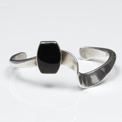 Sterling Silver Onyx Cuff