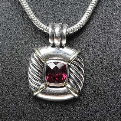 David Yurman Sterling Silver 14K Yellow Gold Accented Garnet Necklace