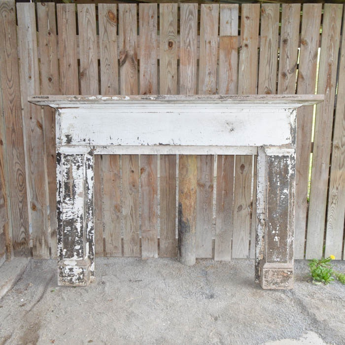 antique solid old growth poplar white painted fireplace mantel ebth