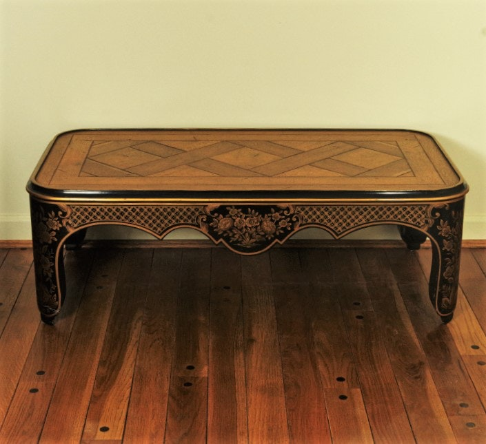 Vintage Baker Chinoiserie Back Lacquer Coffee Table With Oak Parquet Top ...