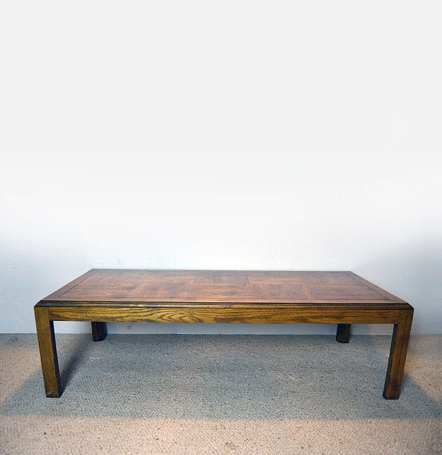 Parquet Top Oak Coffee Table Ebth
