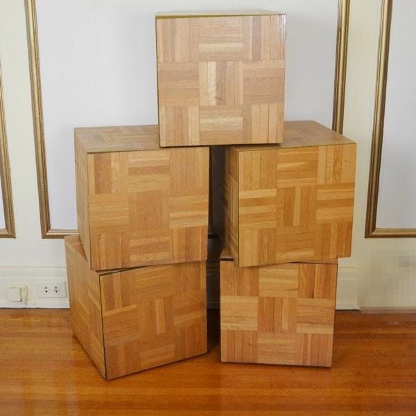 Five Laminate Parquet Style Wood Storage Cubes ...
