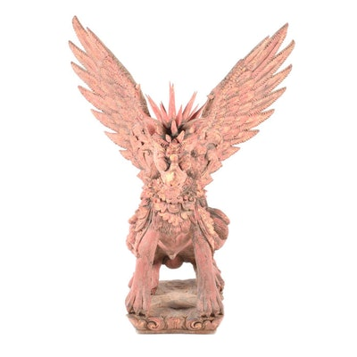 Asian Wooden Singha or Winged Lion Sculpture