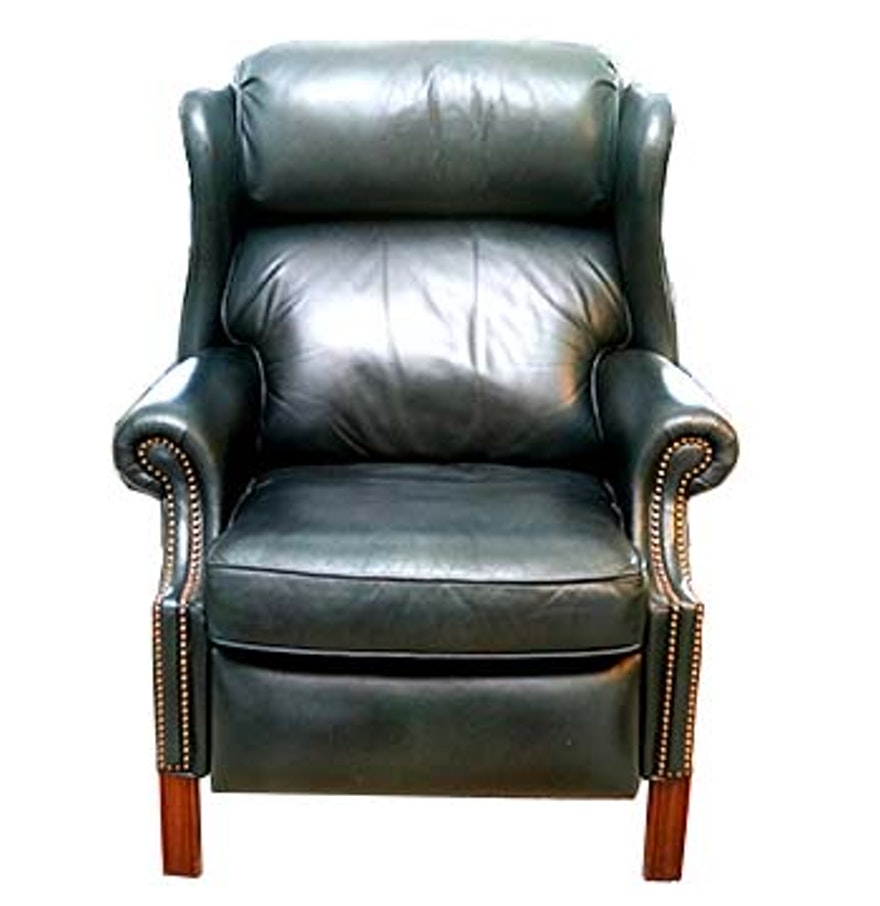 Teal leather reclining wingback chair ebth for Small teal chair