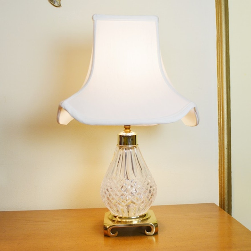 Small Waterford Crystal And Brass Accent Lamp Ebth