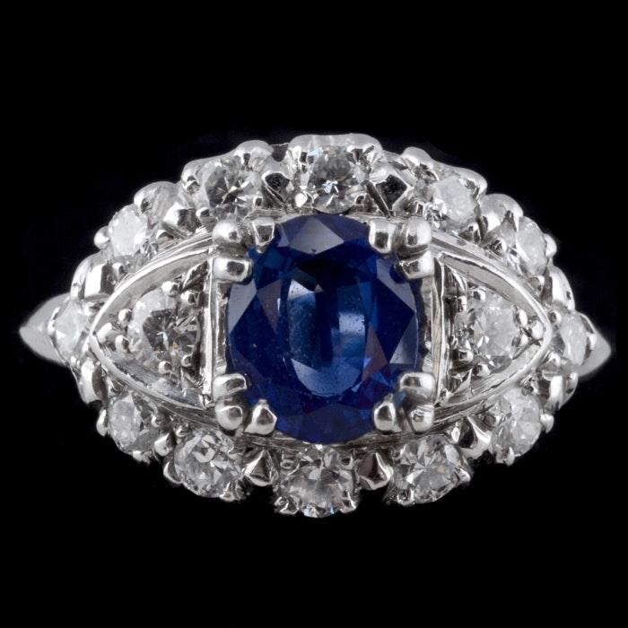 Blue Diamond Platinum: Platinum And Iridium Blue Sapphire And Diamond Ring : EBTH