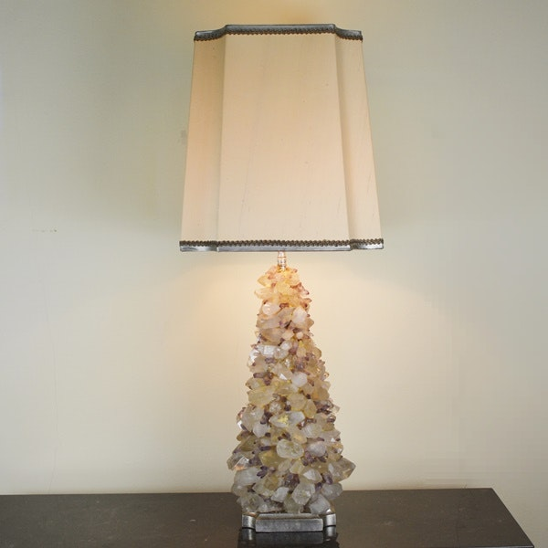 Amethyst And Clear Quartz Table Lamp With Illuminated Body