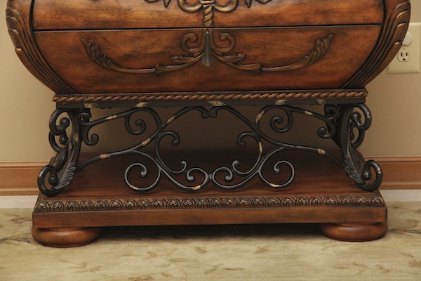 Wood Bombe Style Accent Chest By Ashley Furniture Ebth