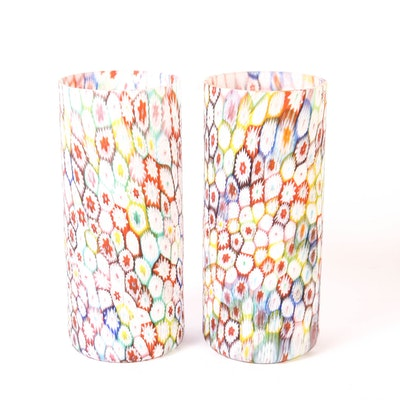 Two Vintage Murano Millefiori Glass Vases