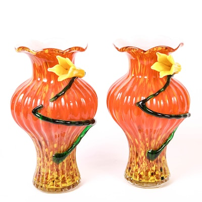 Two Vintage Red Murano Glass Vases