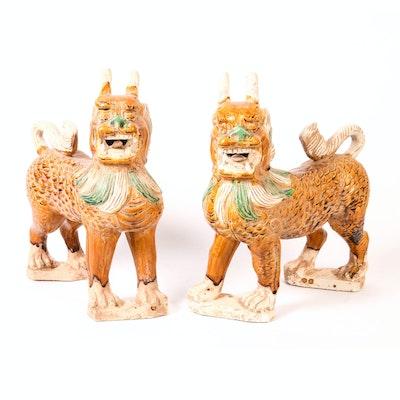 Sancai-Glazed Foo Guardians