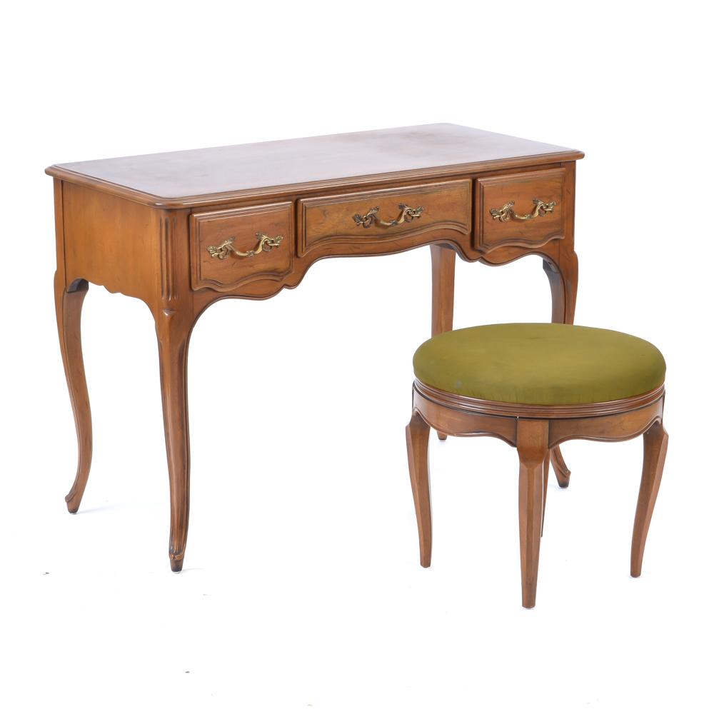 Davis Cabinet Company Walnut Vanity Desk and Swivel Chair : EBTH